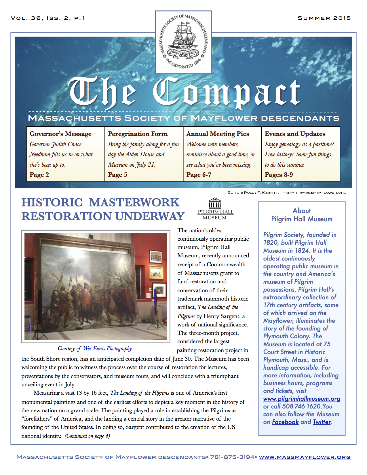 Cover Final Mayflower Compact vol. 36 Issue 2 Summer 2015
